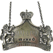 Sterling Silver Madeira Decanter Label 1950's English Crown Lion Bottle Tag Coronation Souvenir