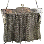 Sterling Silver Purse c.1910 Butterflies Flowers Antique Mesh Vintage