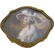 French Gilt Dresser Box Miniature Portrait c.1900 Antique Jewelry Trinket Box
