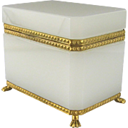 French White Opaline Glass Casket Vintage Ormolu Footed Jewelry Table Box