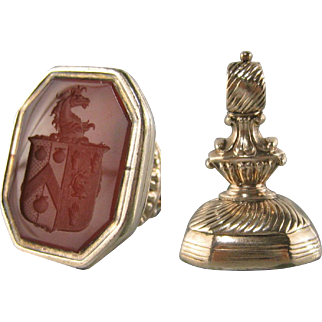 Large Gold Cased Intaglio Seal Antique Family Crest Watch Fob Carnelian