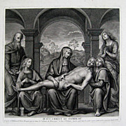 Jesus Christ Au Tombeau 18thC Engraving Claude Duflos after Perugino