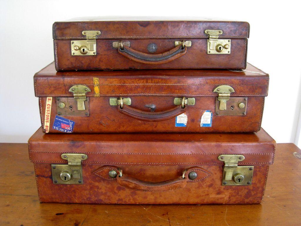 Vintage English Leather Suitcase c.1915 Brass Hardware SOLD on ...