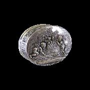 Hanau Silver Pill Trinket Box c.1900 Antique Cherubs Basket Flowers Snuff Box
