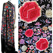 Vintage Embroidered Piano Shawl c.1920 Chinese Manton