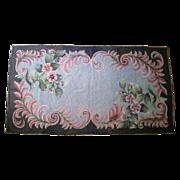 Vintage Floral Hooked Rug c.1900-30 Signed CP