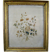 Antique Silkwork Embroidery Bouquet c.1800 Gilt Frame