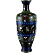 Antique Japanese Cloisonne Enamel Vase c.1890 Large 12""