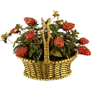 Vintage Jane Hutcheson Strawberry Basket Enameled & Jeweled