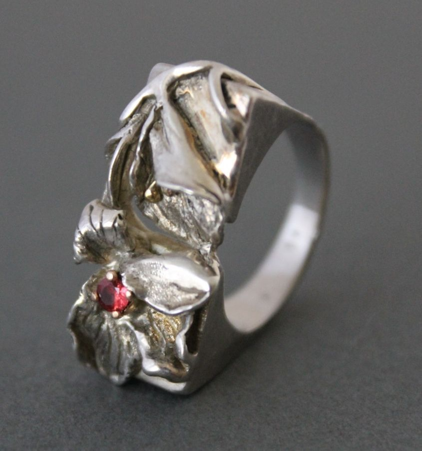 Ring Sterling Silver 14 K. Gold Natural  Padparadscha Sapphire