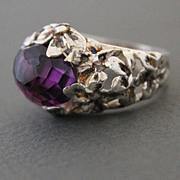 Ring Sterling Silver  Facet Amethyst Ring