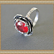 Sterling Silver Pigeon Blood Red Ruby Ring