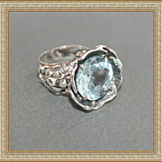 Sterling Silver Topaz Aquamarine Color!!!
