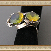 Art Deco Style St.Silver 14 K. Gold Yellow-Bi Color Citrine