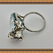 Ring Sterling Silver Topaz Aquamarine Color