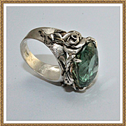 Ring Sterling Silver flowers Green Amethyst