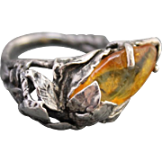 Ring Sterling Silver Natural Amber Ring