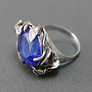 Ring Sterling Silver Tanzanite Color Quartz