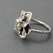 Sterling Silver Ring Natural Green Sapphire