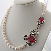Pearl Cultured Necklace Sterling Silver Pendant Blood Red Topaz Color Quartz