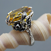Ring Sterling Silver  Citrine Color Quartz