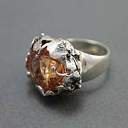 Peach Pink Morganite Color Quartz Ring Sterling Silver