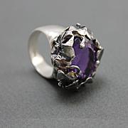 Facet Amethyst Ring Sterling Silver