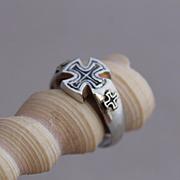 Sterling Silver Men Christian Ring Cross