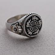 Sterling Silver Men Ring Runes of luck
