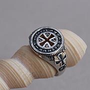 Sterling Silver Men Orthodox Christian Ring Cross