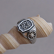 Sterling Silver Men Ring Rune of luck and wealth