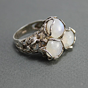 Ring Sterling Silver Moonstones