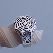 Men Ring Web Sterling Silver Size 10.1/2