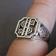 Mens Dollar Sign Ring Sterling Silver