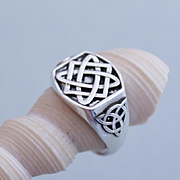 Mens Ring Runes Sterling Silver