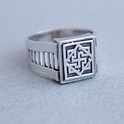 Sterling Silver Mens Ring Rune