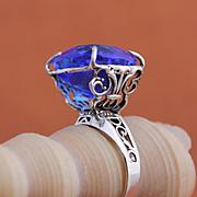 Sterling Silver Ring Tanzanite Color Quartz