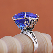 Sterling Silver Ring Tanzanite Color Quartz