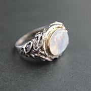 Ring Sterling Silver 14 K. Gold Moonstone