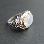 Ring Sterling Silver 14 K. Gold Moonstone