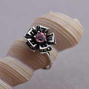 Sterling Silver Ring Pink Topaz Color Ring