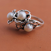Ring Sterling Silver Cultured Freshwater Pearls Ring