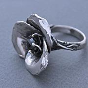Ring Sterling Silver Red Dark Garnet