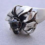 Ring Sterling Silver Red  Garnet