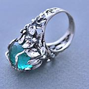 Ring Sterling Silver Round Apatite Color Quartz