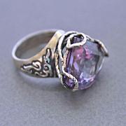 Sterling Silver Ring  Lab Corundum Color Change Alexandrite
