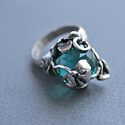 Ring Sterling Silver Round Apatite Color Quartz Size 8 1/2