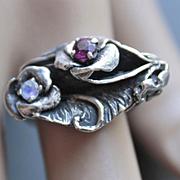 Ring Sterling Silver Red Facet Garnet Two Moonstones