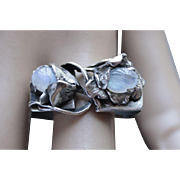 Ring Sterling Silver  Two Moonstones