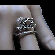 Ring Sterling Silver  Deep Jet Black Diamond